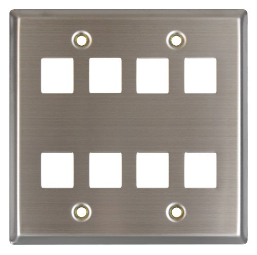 Allen Tel Products ATBKDVF-8 Double Gang, 8 Ports Versatap Faceplate, Stainless Steel