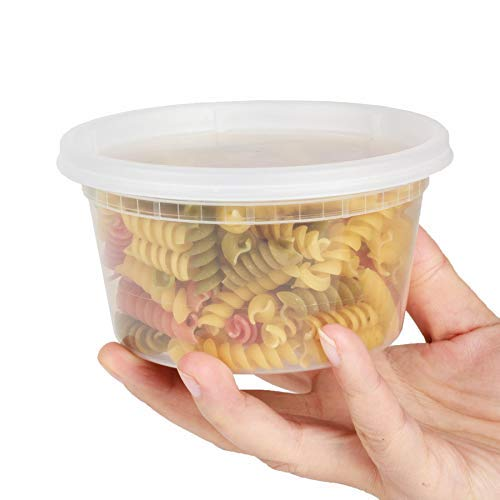GOLDEN APPLE, 12oz-12sets Plastic Food Storage Containers with Lids, Microwavable Translucent Plastic Deli Container and Lid Combo Pack, Stackable, - Combo Food Container Pack