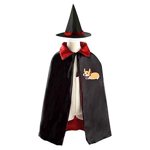 69PF-1 Halloween Cape Matching Witch Hat Funny Corgi Dog Wizard Cloak Masquerade Cosplay Custume Robe Kids/Boy/Girl Gift -