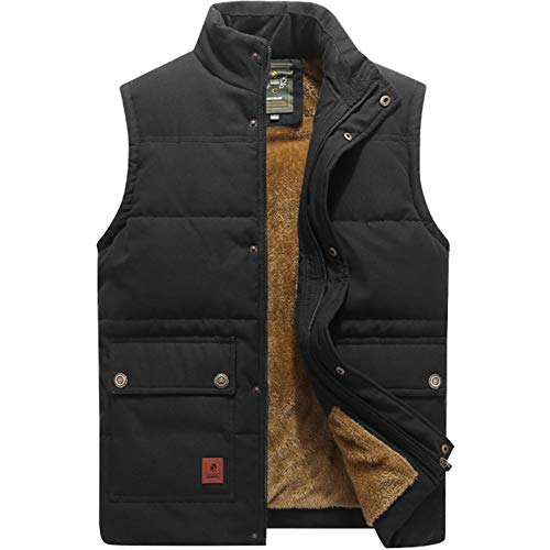 Flygo Men's Winter Warm Outdoor Padded Puffer Vest Thick Fleece Lined Sleeveless Jacket (Style 02 Black, X-Large)