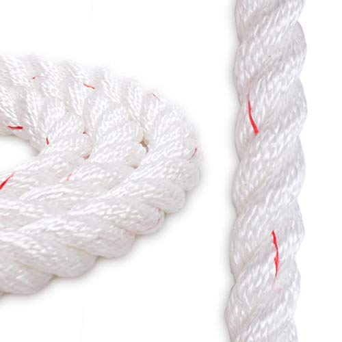 "Knot & Rope Polyester Combo Rope | (1"" x 600ft.) White w/Red Tracer"