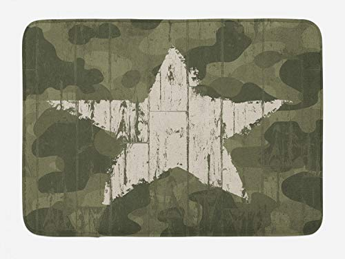 Ambesonne Camouflage Bath Mat, Grungy Star on Camoflage Background Hiding Theme Abstract Design, Plush Bathroom Decor Mat with Non Slip Backing, 29.5