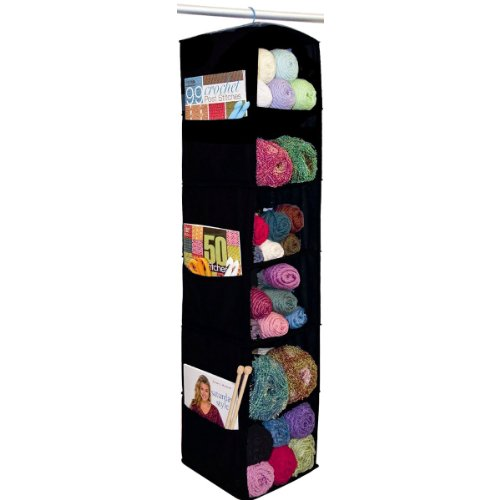 Black 6-shelf yarn and craft organizer.