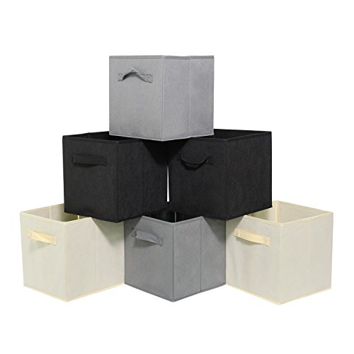 IYAYOO Cube Storage Bins with Double Handles Set of 6 Foldable Nonwoven Collapsible Storage Bins for Shelf Closet or Underbed Nonwoven Storage Bins for Clothes or Kids Toy Storage Unit ()