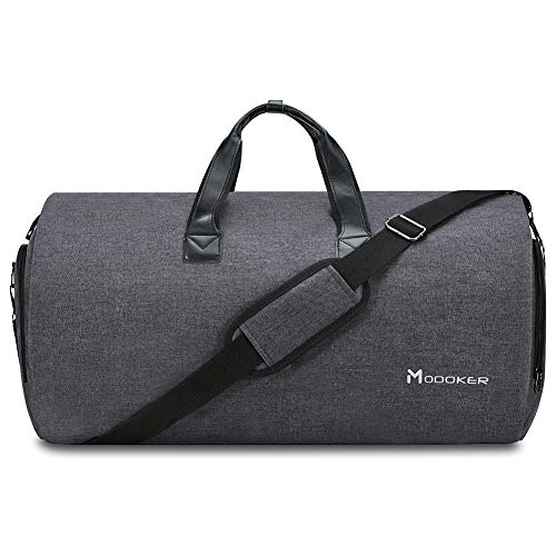 (Convertible Garment Bag with Shoulder Strap, Modoker Carry on Garment Duffel Bag for Men Women - 2 in 1 Hanging Suitcase Suit Travel Bags (Black) )