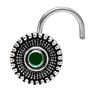 AVNI by GIVA 925 Oxidised Silver Bottle Green Nose Pin | Nose Pin For Women & Girls | With Certificate of Authenticity and 925 Hallmark