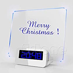 Walid-LED Light Digital Clock Alarm Fluorescent Message Board Calendar Thermometer