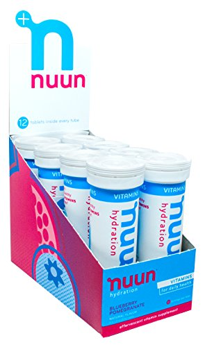 Nuun Hydration: Vitamin + Electrolyte Drink Tablets, Blueberry Pomegranate, Box of 8 Tubes (96 servings), Enhanced for Energy and Daily Health