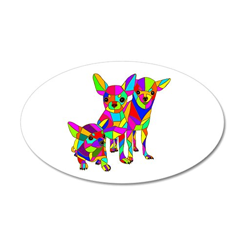 CafePress - 3 Colored Chihuahuas - 20x12 Oval Wall Decal, Vinyl Wall Peel, Reusable Wall Cling