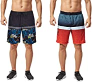 TEXFIT 2-Pack Men's Swim Trunks with Mesh Lining, Stretch Quick Dry Fabric, Three Pockets (2pcs Set)