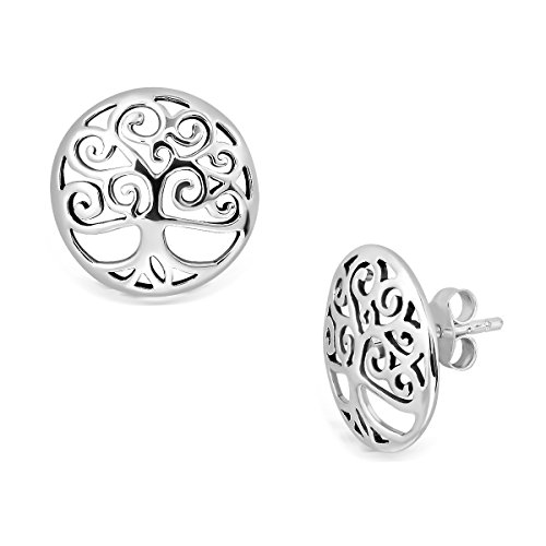 (WithLoveSilver 925 Sterling Silver Round Cut Out Celtic Trinity Tree of Life Stud Earrings)