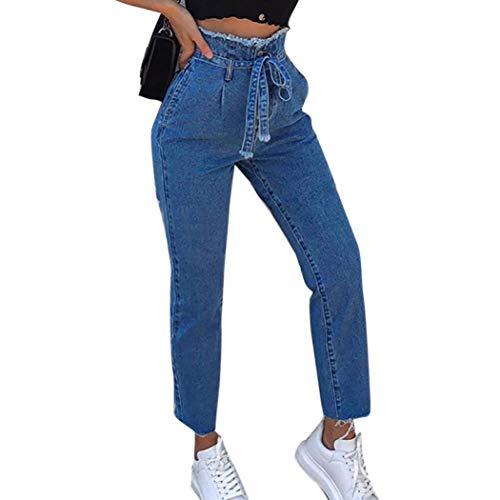 TOPUNDER Plus Size High Waist Jeans for Women Trimmings Slim Denim Pants Belt Trousers