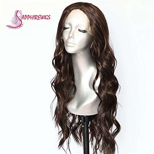 Sapphirewigs Long Brown Color Natural Wave Daily Makeup Kanekalon Heat Resistant Hair Natural Hairline Synthetic Lace Front Wedding Party Wigs ()