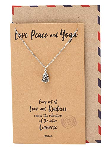- Quan Jewelry Inspirational Gifts for Women Love, Peace and Yoga Necklace, Black Bell Pendant, Religious Jewelry with Motivational Quote on Greeting Card