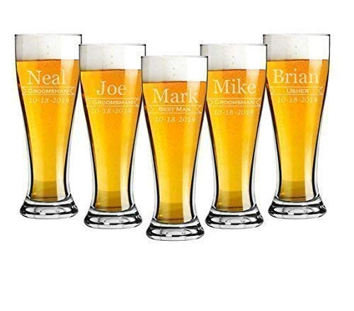 Groomsmen 16 ounce Pilsner Pint Beer Glass Sets of 2 to 12 Custom Engraved including Choices of Design, Name, Title and -