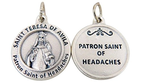 Silver Toned Base Patron of Headaches Saint Teresa of Avila Medal Pendant, 3/4 Inch