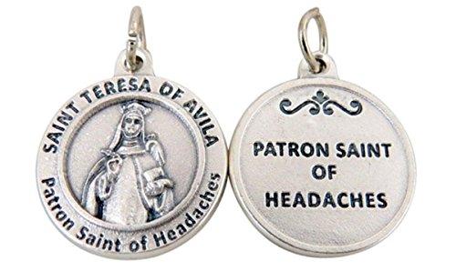 Catholic Saints Silver Toned Base Patron of Headaches Saint Teresa of Avila Medal Pendant, 3/4 Inch (St Teresa Of Avila Patron Saint Of)