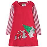 Fiream Girls Christmas Cotton Long Sleeve Bunny Patch Dress(SY015,7-8Y)