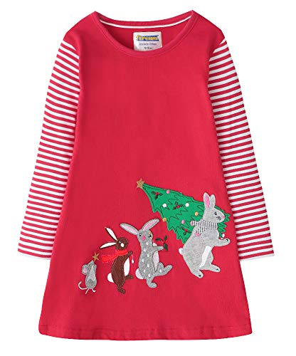 Fiream Toddler Girls Christmas Cotton Long Sleeve Bunny Patch Dress, SY015, 4T ()