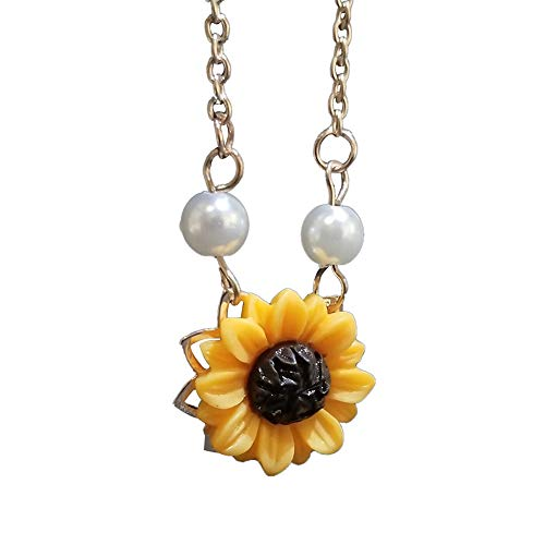 lightclub Trendy Sunflower Imitation Pearl Pendant Clavicle Necklace Jewelry for Women - Rose Golden Elegant Necklace for Women