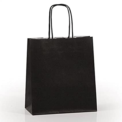 061a0c26eb97 20 x Black Paper Party Bags 25cm x 24cm + 11cm with Twisted Handles Gift  Bags Celebrations Birthday  Amazon.co.uk  Kitchen   Home