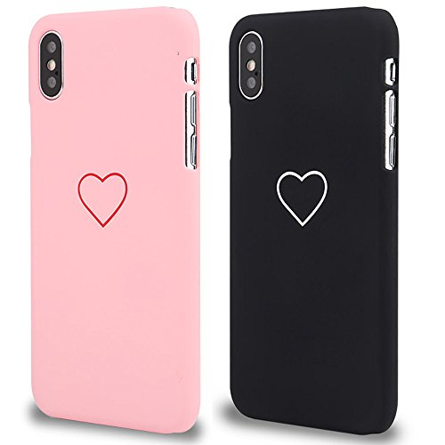 (2 Pack for iPhone Xr Case LAPOPNUT Fashion Cute Love-Heart Shape Matte Case Anti-Scratch Soft TPU Cover Back Bumper for Apple iPhone Xr,Pink&Black)