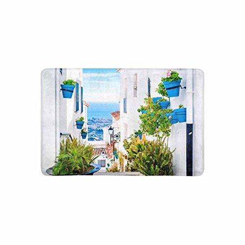 InterestPrint European View of Spain Street with Flower Pots Doormat Non Slip Indoor/Outdoor Doormat Floor Mat Home Decor, Entrance Rug Rubber Backing 23.6''(L) x 15.7''(W) by InterestPrint