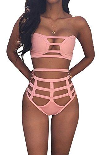 Spring fever Women's Sexy Criss Cross High Waist Hollow Out Bandage 2PCS Bikini Set Swimsuit Swimwear Pink XL (US:4-6) (2 Piece Boudoir Rose)