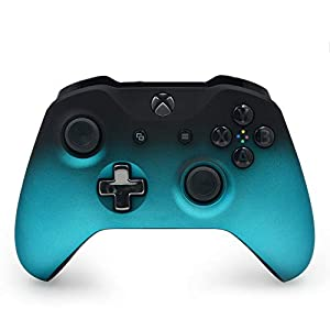 Best Epic Trends 41jurm8nKPL._SS300_ Mineral Blue Shadow Custom Wireless Controller for Xbox One Console - Textured Grip - 3.5mm Headset Jack - Chrome Steel…