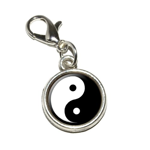 (Graphics and More Yin and Yang Chinese Symbol Taoism Antiqued Bracelet Pendant Zipper Pull Charm with Lobster Clasp)