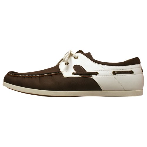 Marron Et Blanc Mocassin Boater Style Chaussures Hommes Taille 9