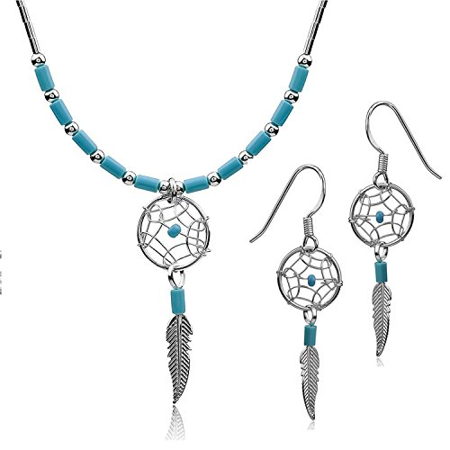 (Dream Catcher Simulated Necklace Feather Earrings Set, 18