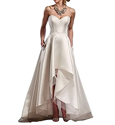 Weddder High Low Wedding Dress For Bride 2018 Strapless Sweetheart Formal Evening Gowns