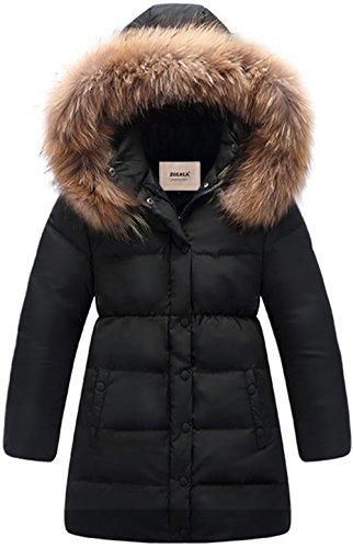 nter Parka Coat Puffer Jacket Padded Overcoat With Fur Hood (Girls Long Winter Coat)