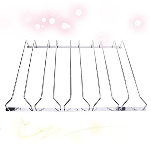 Ocamo 1 Pcs 1-5 Rows Stainless Steel Wall Mount Stemware Wine Glass Hanging Rack Holder Shelf by Ocamo