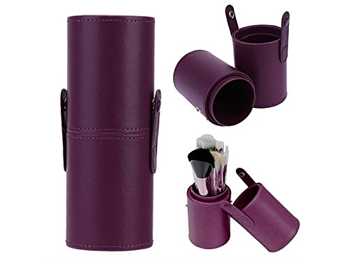 Hezon Leather Waterproof Cosmetic Brush and Pen Holder Storage Makeup Empty Holder (Purple) EASY TO USE