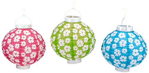 - Beistle Light-Up Hibiscus Paper Lanterns, 8-Inch, Cerise/Light Green/Turquoise/White