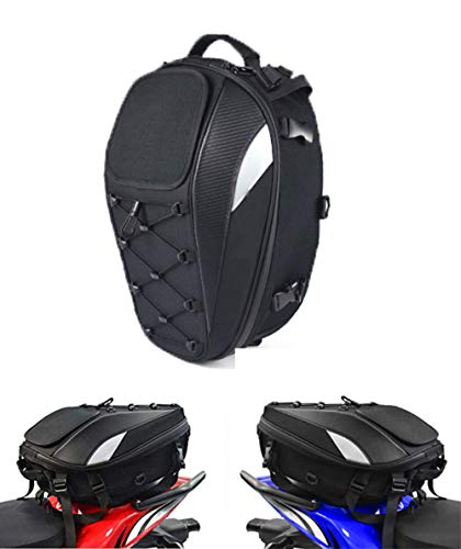 Motorcycle Seat Bag, Meago Dual Use Motorcycle Backpack Black Tail Bag Waterproof Luggage Bags Motorbike Helmet Bag Storage Bag (B) (B)