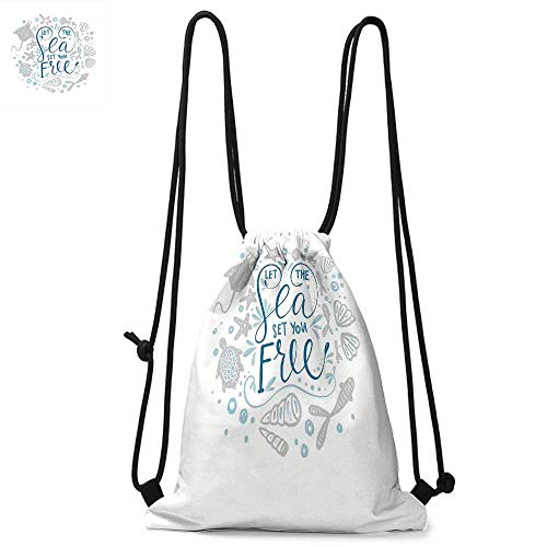 Nautical Portable drawstring backpack Let the Sea Set You Free Quote with Shellfish Turtle and Stingray For the gym W13.4 x L8.3 Inch Pearl Navy Blue Pale Blue