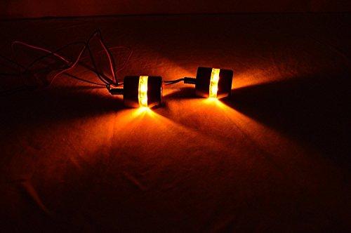 Sahara Motorcycle Handlebar Turn Signal Grip Bar End LED Plug Strobe Side Indicator Yellow Light Black (Set of 2)… by Sahara (Image #1)'