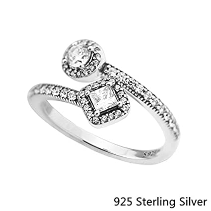 8dbb9eb69 Image Unavailable. Image not available for. Color: Rings Compatible With  Pandora Jewelry 925 Sterling Silver Abstract Elegance, Clear CZ ...
