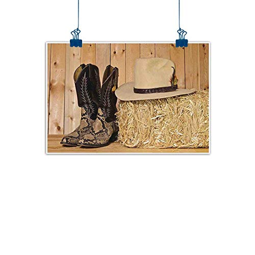 Sunset glow Canvas Wall Art Western Decor,Snake Skin Cowboy Boots Timber Planks in Barn with Hay Old West Austin Texas,Cream Brown Watercolor Painting Home Decor Prints Posters ()
