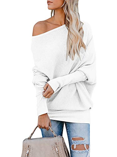 Classic Ribbed Pullover - Tutorutor Womens Off The Shoulder Sweaters Oversized Batwing Sleeve Ribbed Pullover Loose Knit Jumper Sweater Tunic Tops White