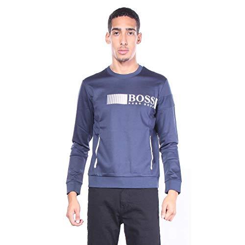 BOSS Green Men's Saltech Technical Interlock Sweatshirt, Navy, Large