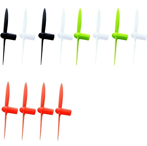 HobbyFlip 3 Sets of Colored 30mm Propellers Red Green Black White for Sharper Image DX-1 Micro Drone