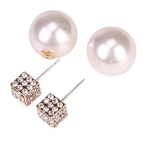 ETbotu Earring Double Side Pearl Crystal Ear Studs Earrings Shiny Gold Fashion Lady ()