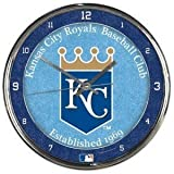 Kansas City Royals Round Chrome Wall Clock - Licensed MLB Baseball Merchandise