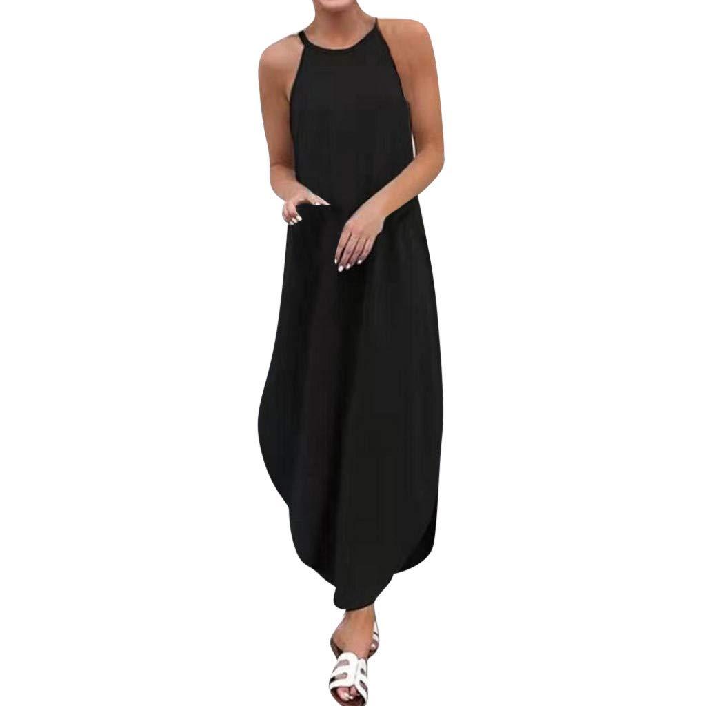 ℱLOVESOOℱ Women's Solid Round Neck Sleeveless Sling Pleated Maxi Dress Elegant Off Shoulder Dovetail Dress Holiday Dress Black