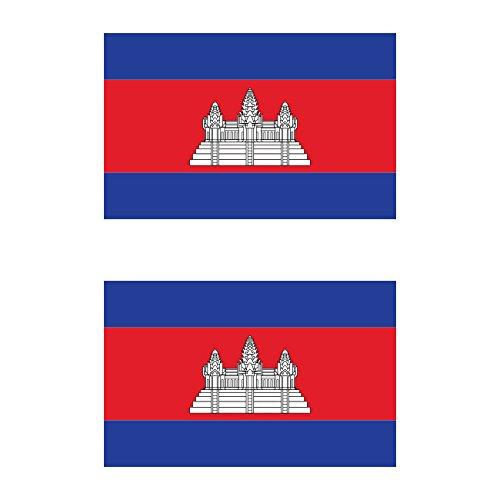 (Two Pack Cambodian Flag Sticker FA Graphix Decal Self Adhesive Vinyl Cambodia KHM KH)