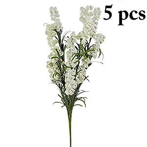 Artificial Plants - 5pcs Artificial Lavender Plastic Bouquet Flower Arrangement - Home Rectangular Trees Succulent Marble Flowers Lemon Rose Cleaner Decorative Grass Jasmine Natural Tabletop Cen 7
